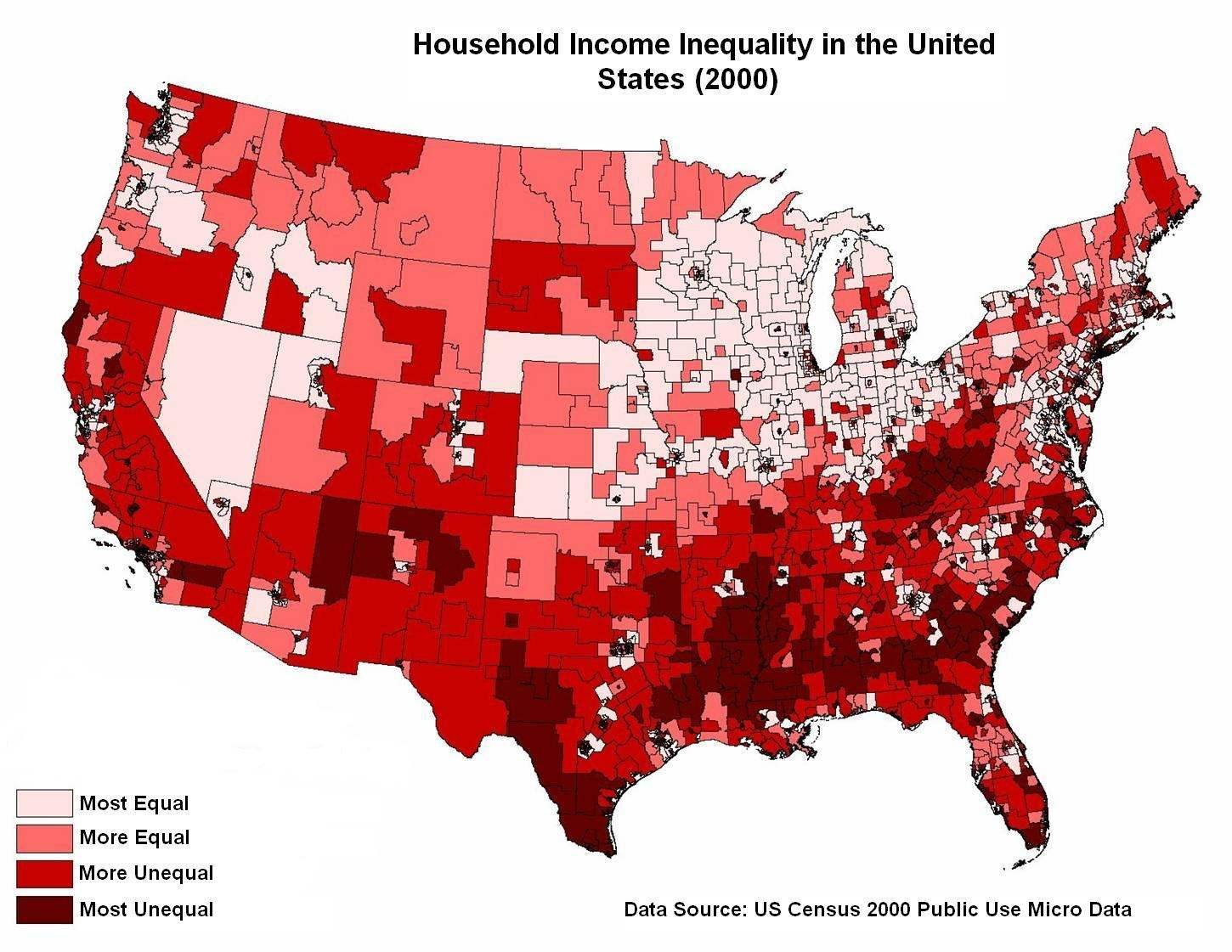 Is Income Inequality A Cause Or A Symptom Culture Economics - Income inequality map of the us